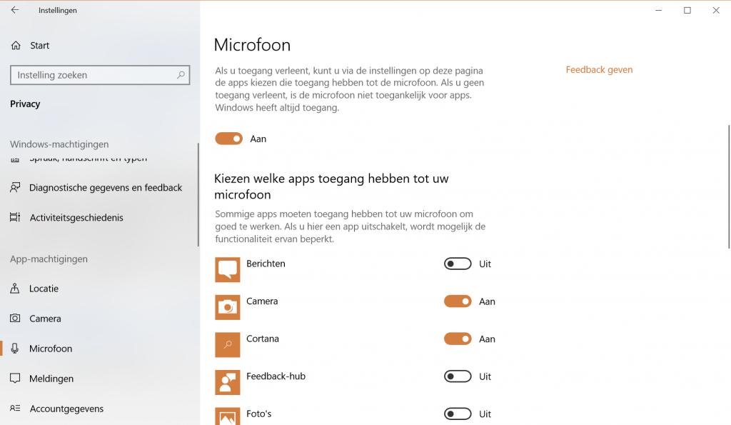 Pas je privacy-instellingen aan om apps toegang tot je microfoon te geven.