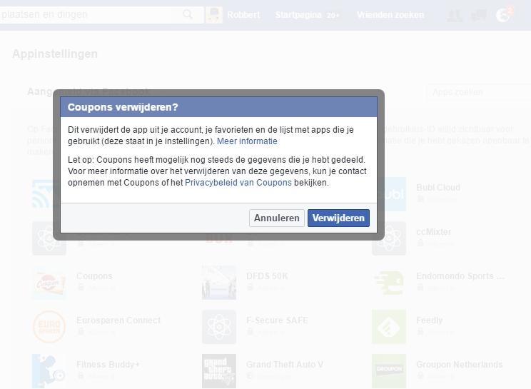 Verwijder ongebruikte en onbekende apps uit je Facebook account.