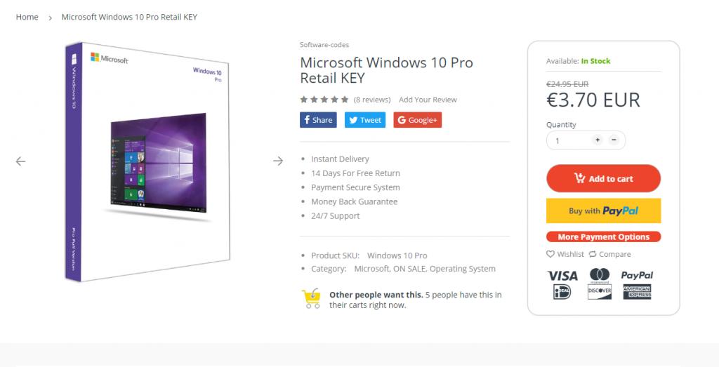 Bij een Windows 10 Pro-licentie voor € 3,70 moeten alle alarmbellen gaan rinkelen.