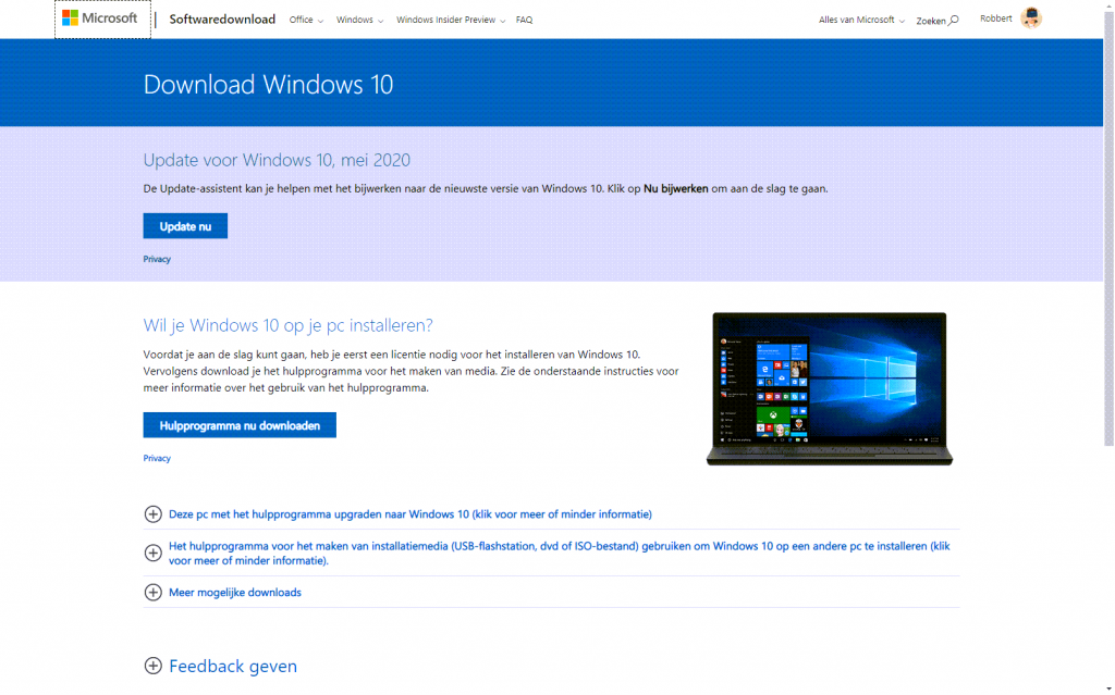Bijwerken naar Windows 10 2004 is vrij simpel via de update-tool